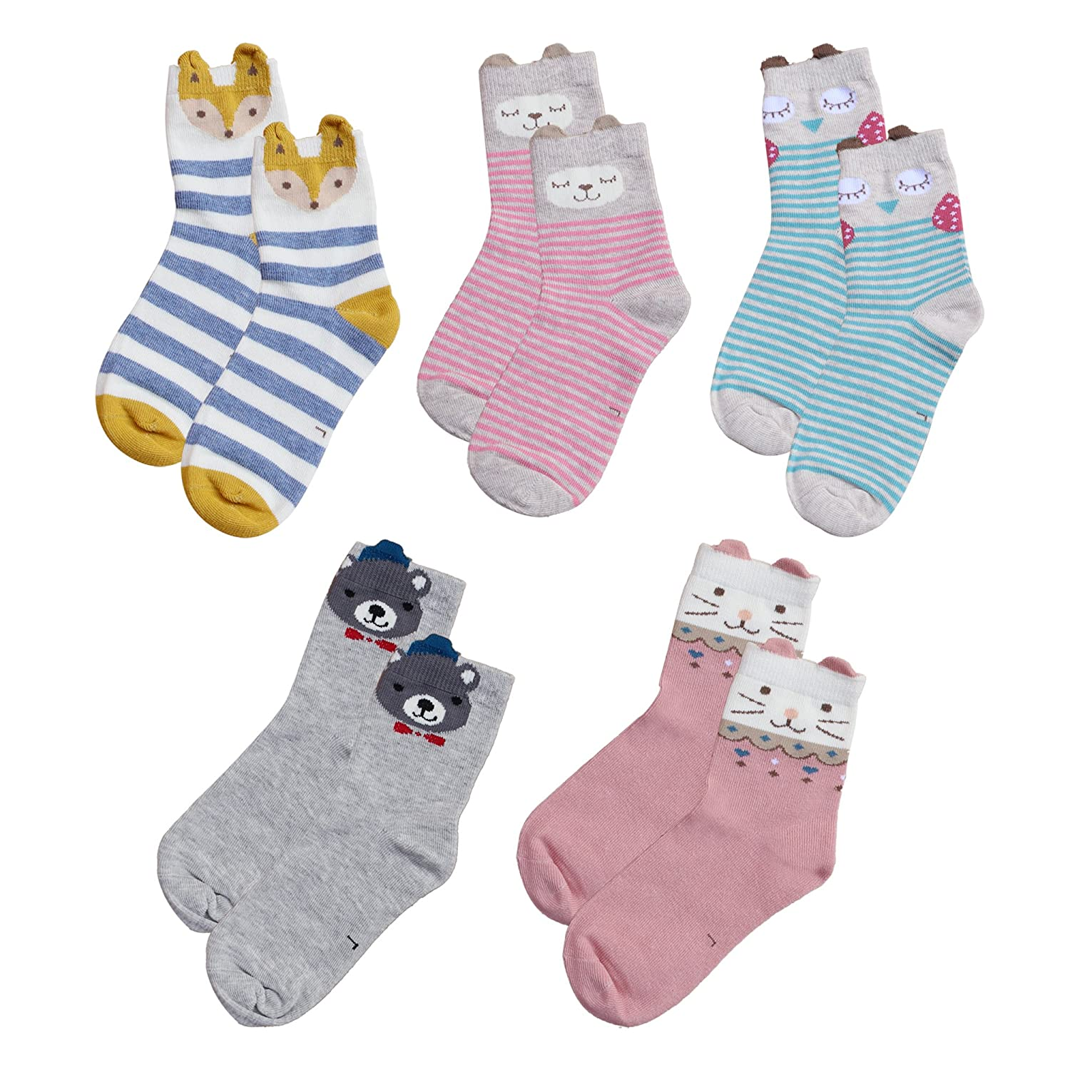 COCOSUN Girls Kids Cotton Assorted Novelty Patterns Solid/Striped Socks 5-Pack