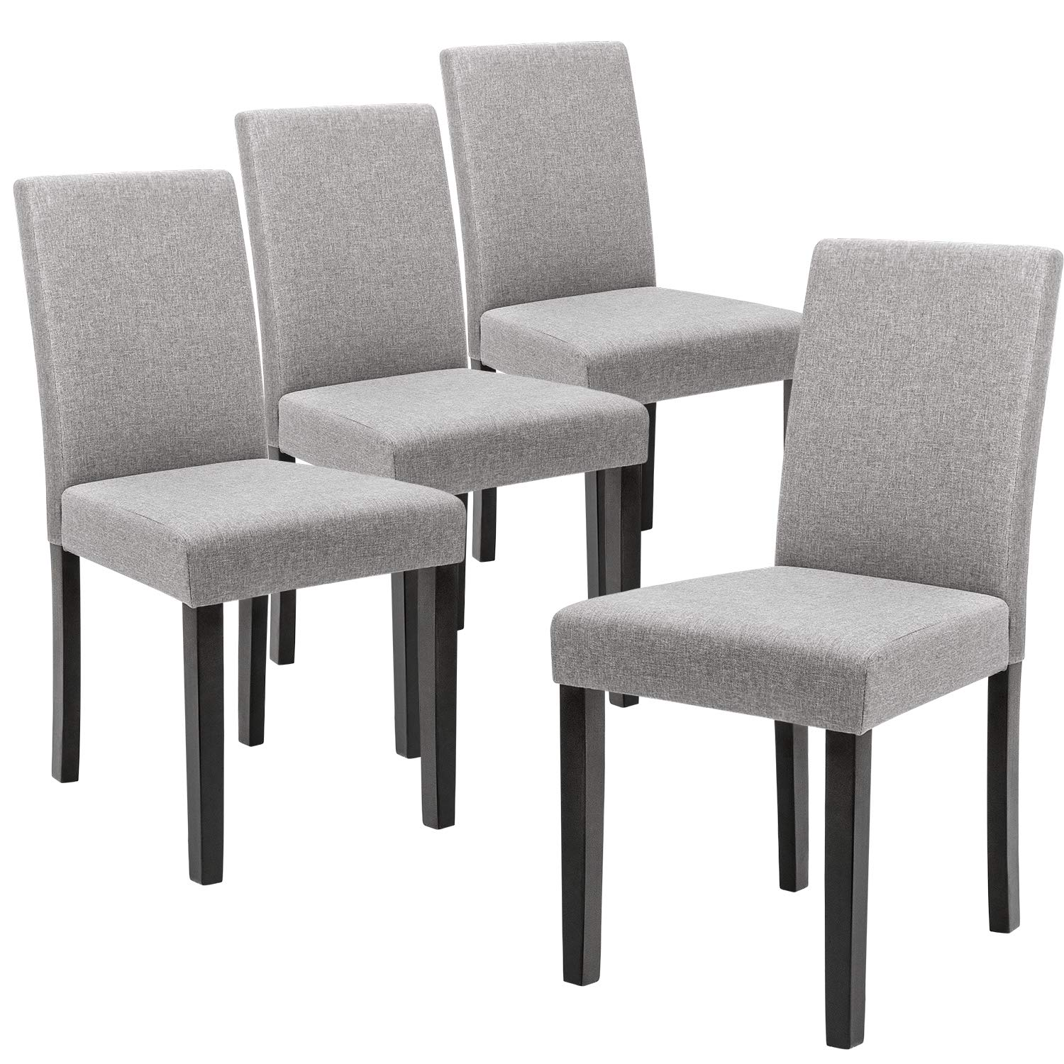 Devoko Fabric Dining Chairs Modern Home Kitchen Side Chair Solid Wood Legs Living Room Chairs Set of 4 (Grey)