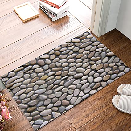 Nature Doormat Pebble Stone Indoor Outdoor Non Slip Rubber Welcome Mats Floor Rug