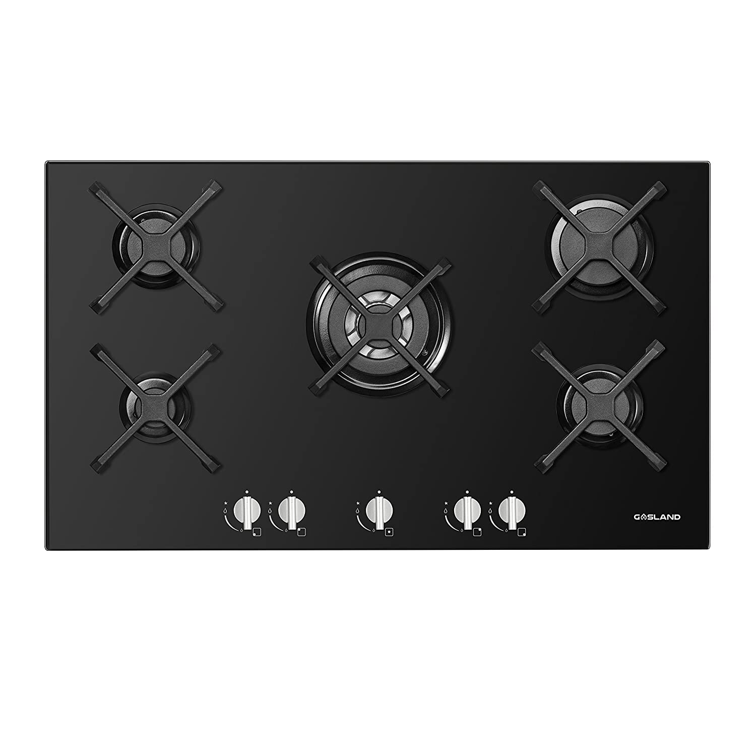 GASLAND chef GH90BF 90cm Built-in 5 Burner Gas on Glass Hob/Cooker/Cooktop with FFD in BLACK TINON