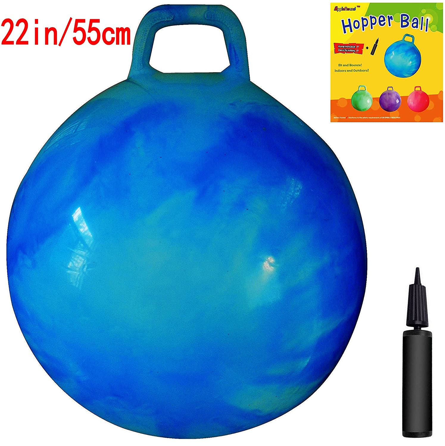 AppleRound Space Hopper Ball with Air Pump 22in 55cm Diameter for Ages 10 12 Hop Ball Kangaroo Bouncer Hoppity Hop Jumping Ball Sit Bounce