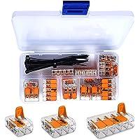WAGO klem 25 stuks set assortiment 10x 221-412 | 10x 221-413 | 5x 221-415 klemmen met intervisio kabelbinders 80 mm