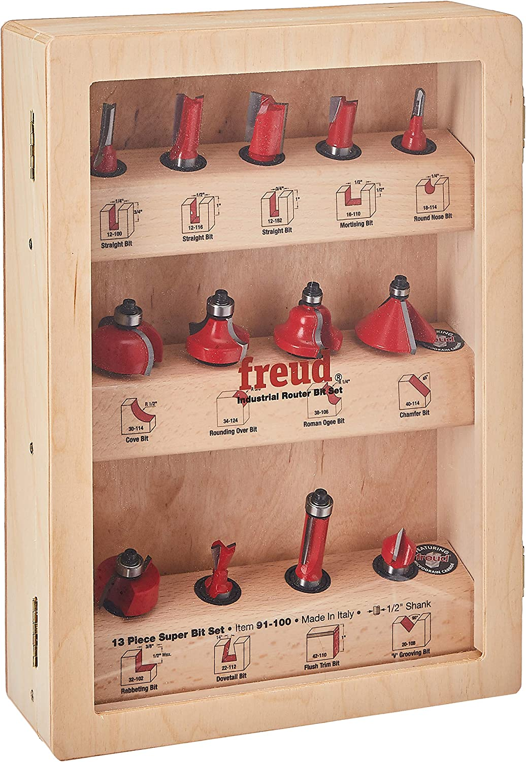 Freud 91-100 13-Piece Super Router Bit Set with 1/2-Inch Shank