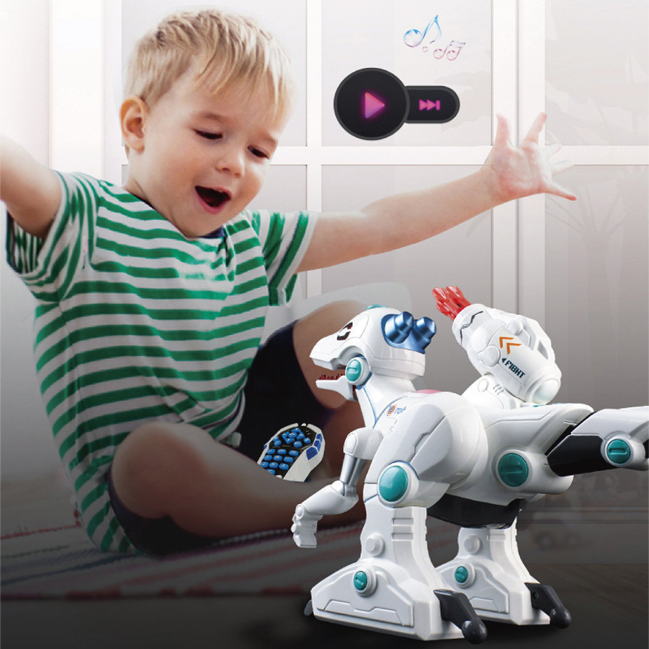 Haite Remote Control Robot Dinosaur, Dinosaur Toys for Kids, Dino Action, Sprays, Fight, Shooting, Live Sound, Rechargeable Intelligent Electronic Pet for Boys/Girls by Haite (Image #7)