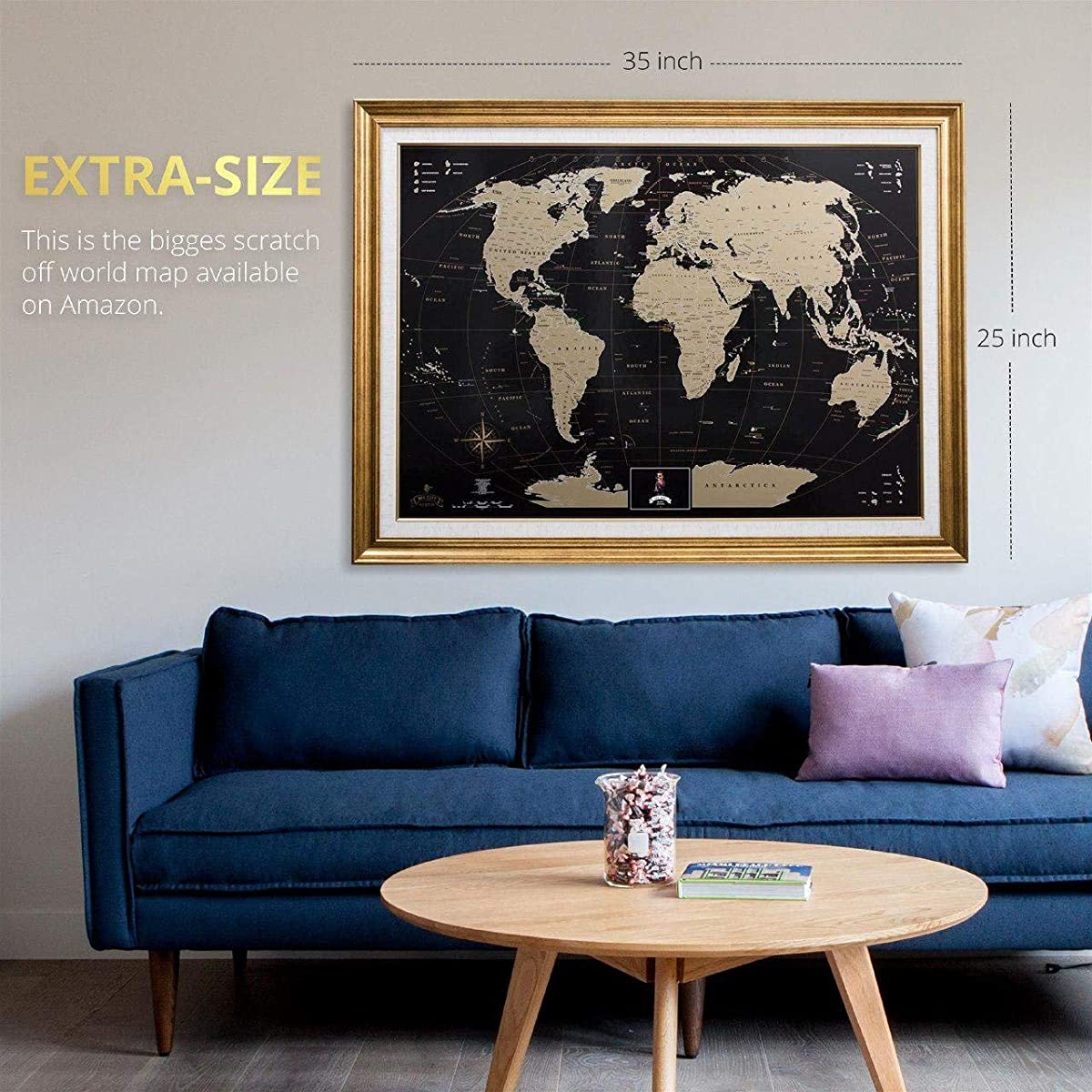 MyMap Gold Scratch Off World Map Wall Poster with US States, 35x25 inches, Includes Pins, Buttons and Scratcher, Glossy Finish, Black with Vibrant Colors