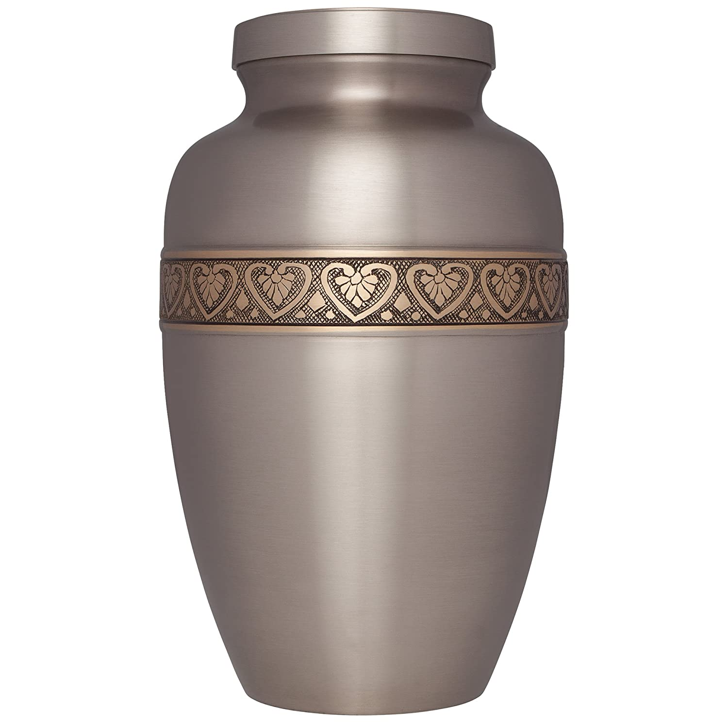 Silver Funeral Urn by Liliane Memorials - Cremation Urn for Human Ashes - Hand Made in Brass - Suitable for Cemetery Burial or Niche - Large Size fits remains of Adults up to 200 lbs - Coeur Model