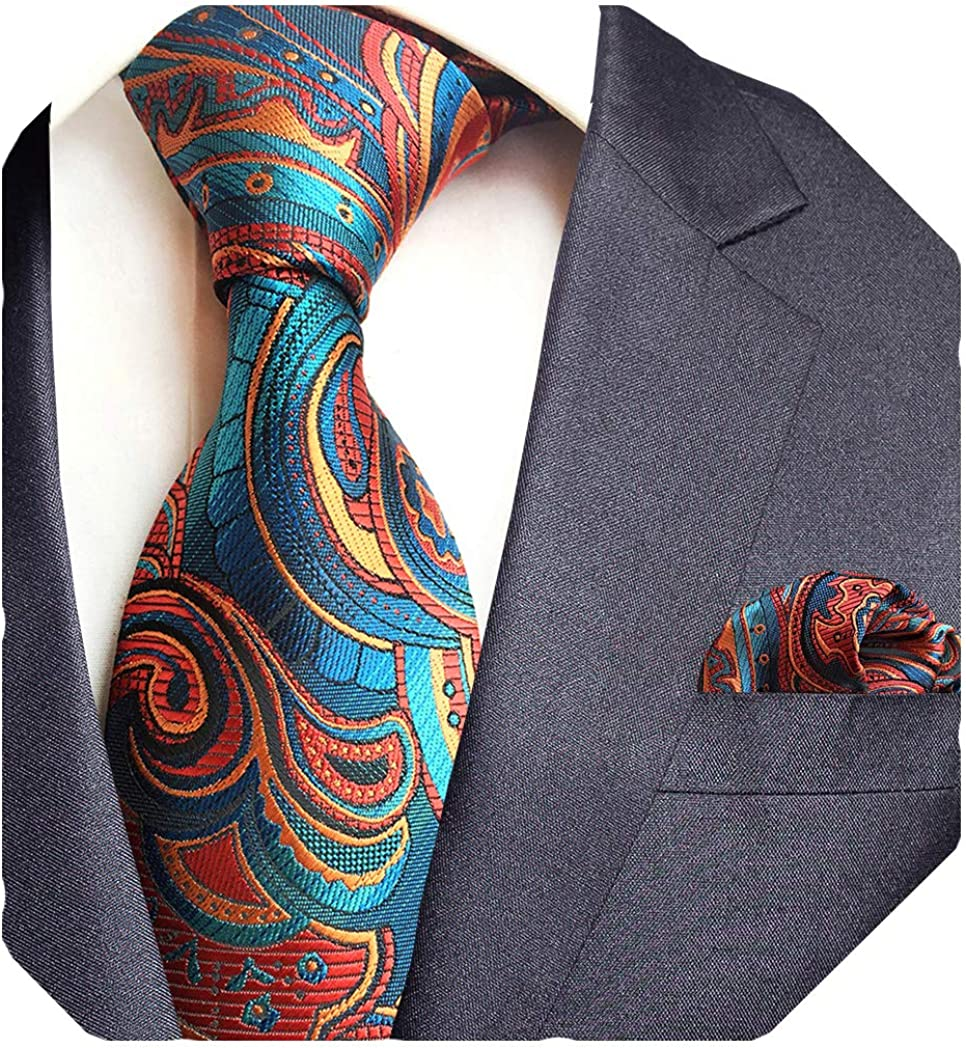 GUSLESON Brand New Paisley Tie and Pocket Square Set Mens Plaid Necktie