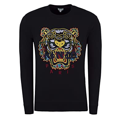 Kenzo Mens Dragon Tiger Sweatshirt, Crew Neck Black Sweat  Amazon.co ... a60f57fa828
