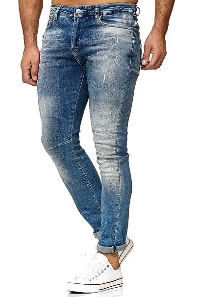 Red Bridge Hombres Jeans Slim-Fit Pantalones Destruida Negro Básico Moda Vaqueros