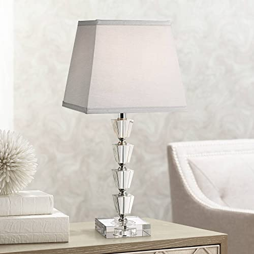 Deco Collection Modern Accent Table Lamp 18″ High Stacked Crystal Cubes Gray Tapered Square Shade