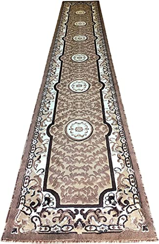 Traditional Long Persian Oriental Runner Rug Beige Brown Americana Design 101 32 Inch X15 Feet 10 Inch
