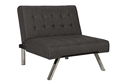 DHP Emily Accent Chair With Split Back And Chrome Legs, Grey Linen
