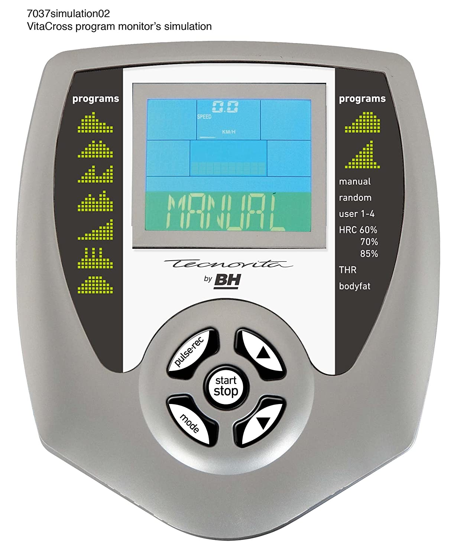 Tecnovita by BH YC202 Vita Cross Program Eliptica. Volante de inercia de 7kg. Freno magnético. Zancada de 33cm. Distancia entre pedales 20cm. monitor LCD.