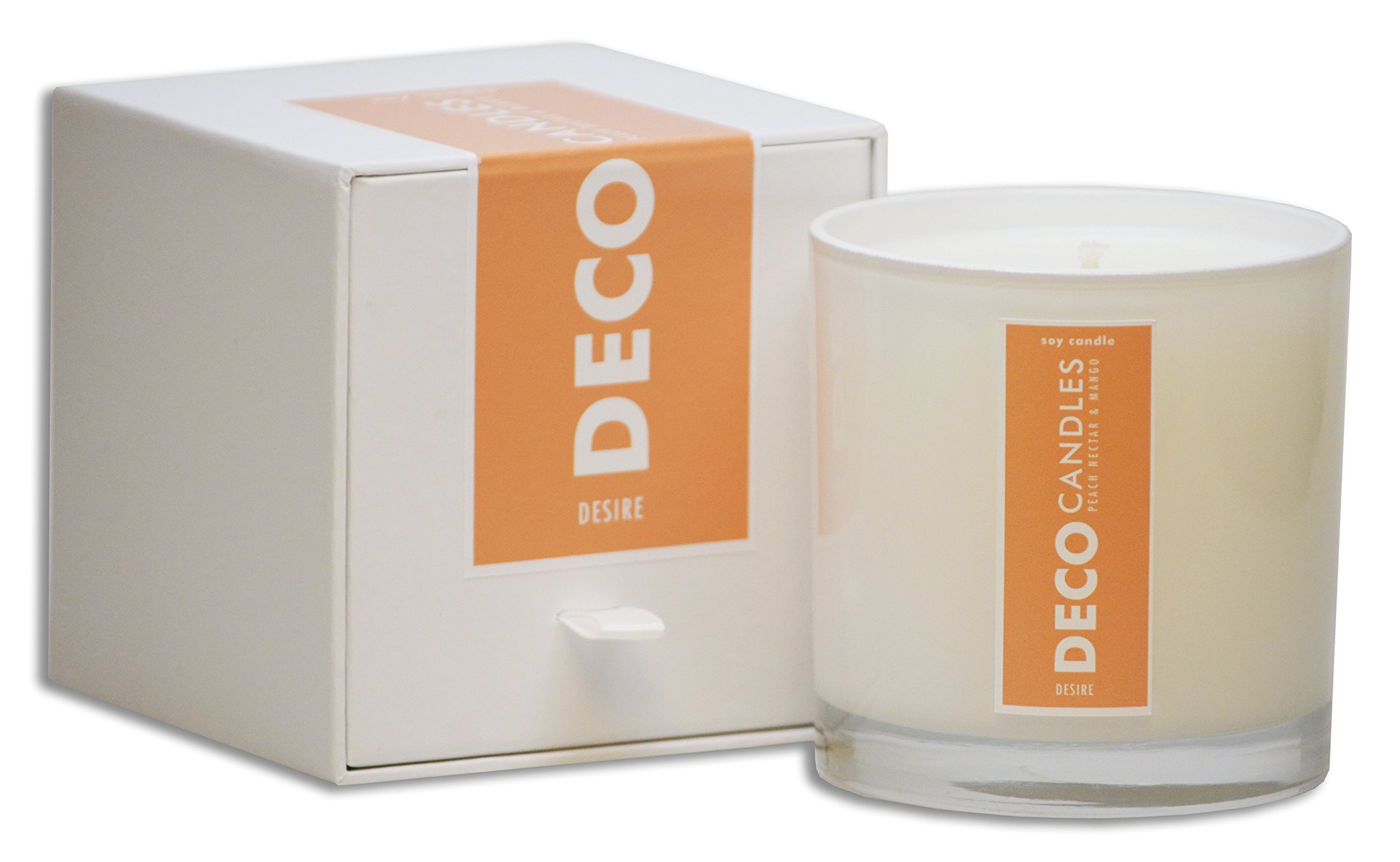 DecoCandleS | Desire - Peach Nectar & Mango - Highly Scented Candle - Long Lasting - Hand poured in the USA - Signature Scent for The Cheshire Hotel St. Louis, MO - 9 Oz.