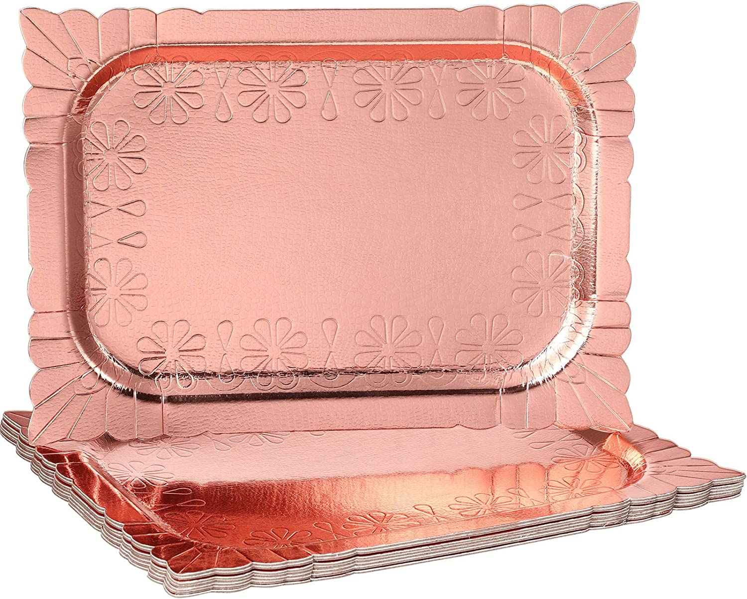 8 Pieces Rose Gold Serving Trays 9.4 x 13.4 Inch Disposable Food Safe Cardboard Serving Platters for Platters, Cupcake, Birthday Parties, Dessert, Weddings Food Safe