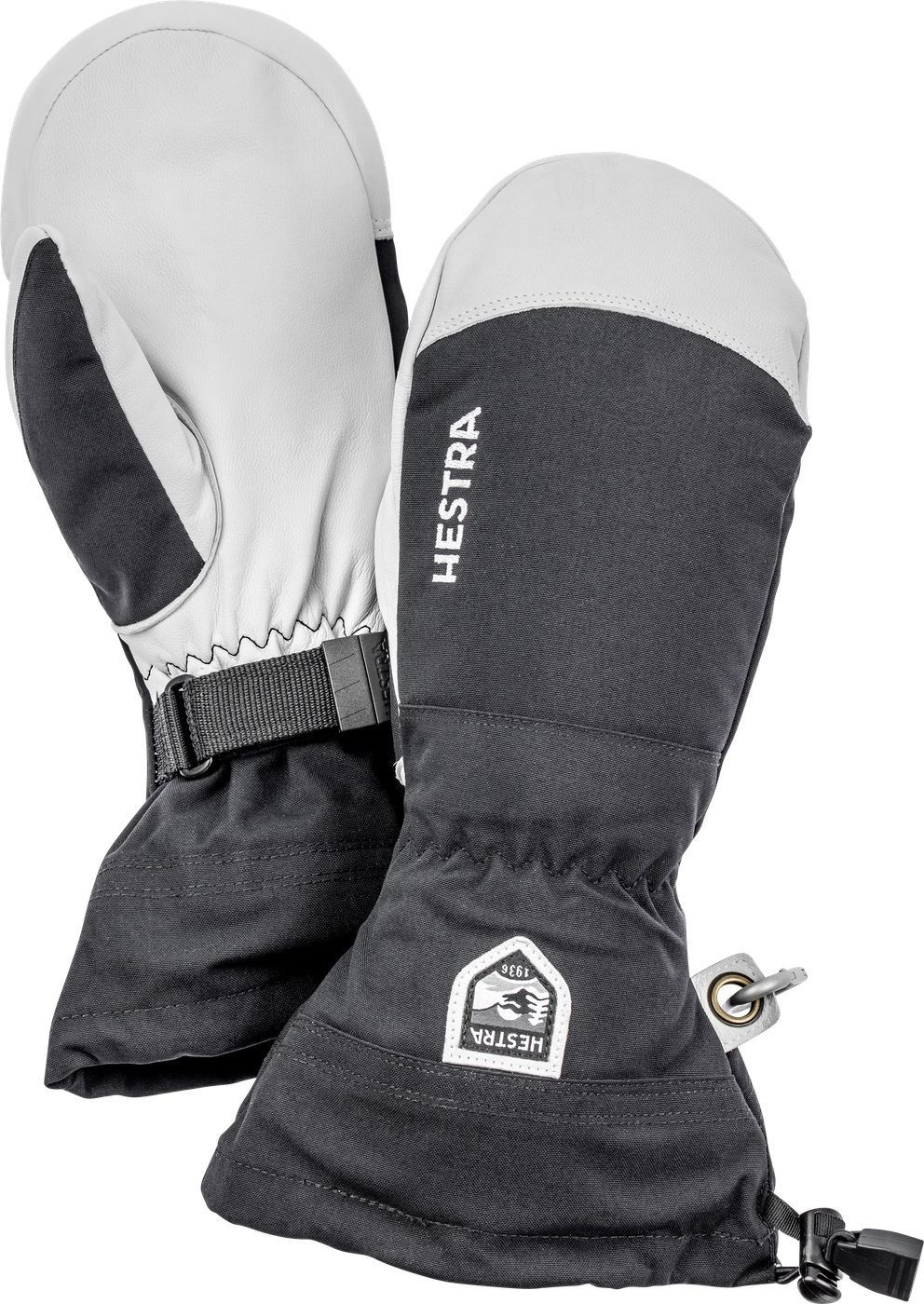 Hestra Mens and Womes Ski Gloves: Army Leather Wind-Proof Water ResisTant Winter Mitten, Black, 10 by Hestra