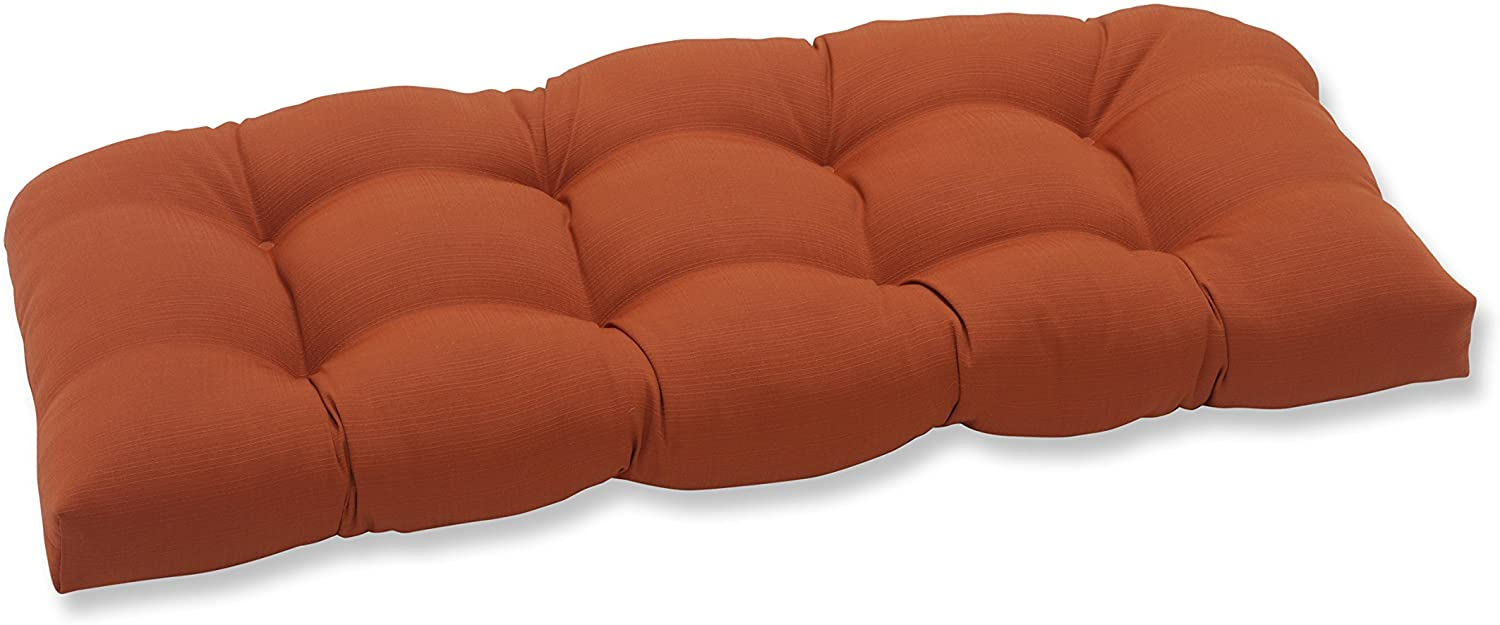 Pillow Perfect Outdoor Cinnabar Wicker Loveseat Cushion, Burnt Orange