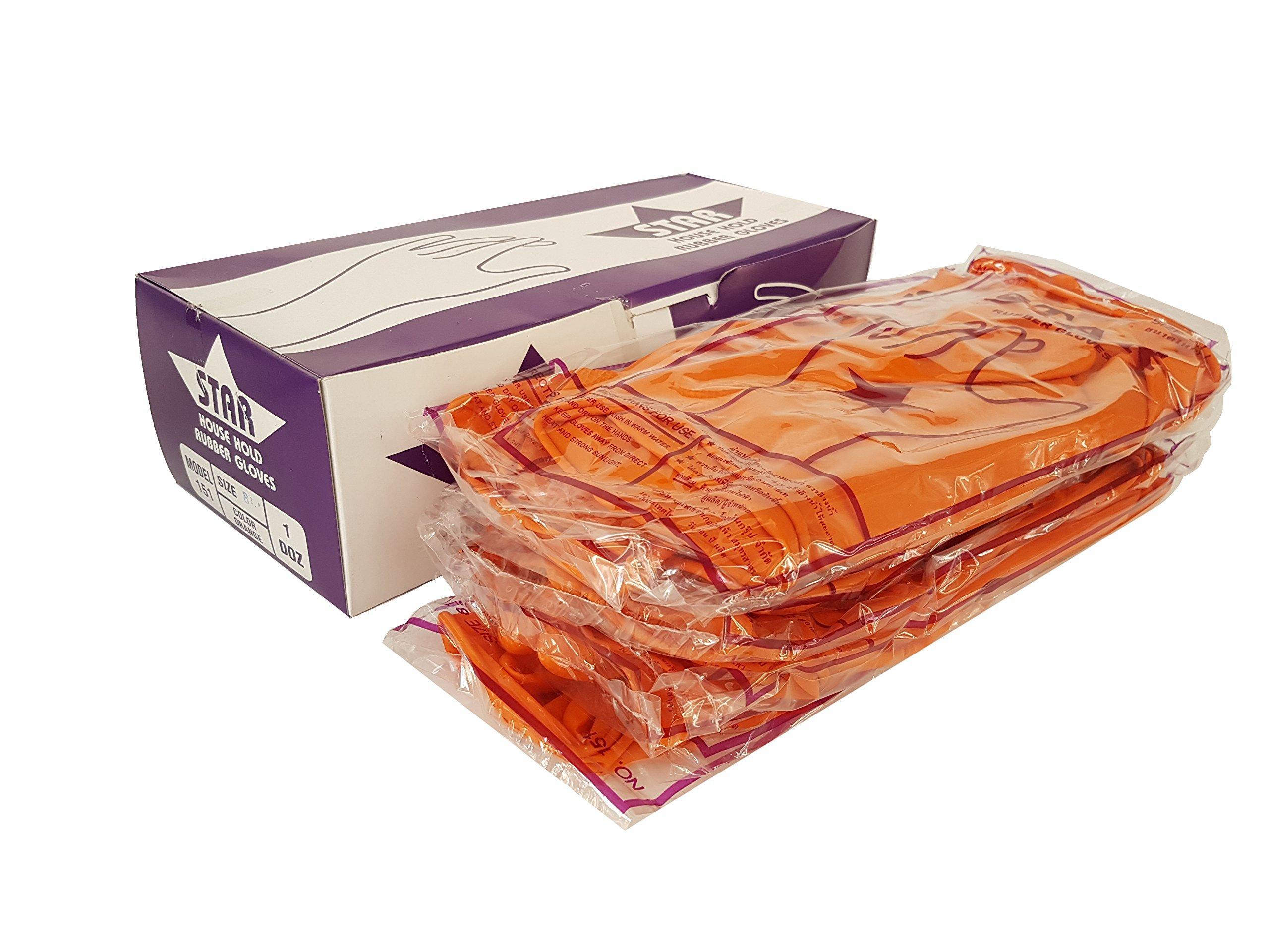 Prasertsteel Orange Rubber Gloves 12 Pack