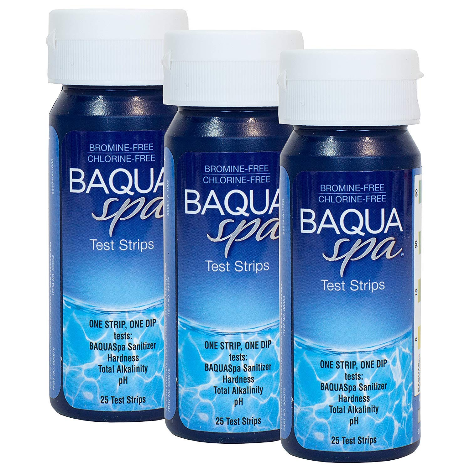 Baqua Spa Test Strips-4 way (25 count) (3 Pack) by Baqua Spa