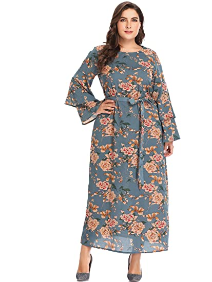 30e0d603b91 Romwe Women s Plus Size Floral Print Casual Self Tie Long Sleeve A-Line  Maxi Dresses at Amazon Women s Clothing store
