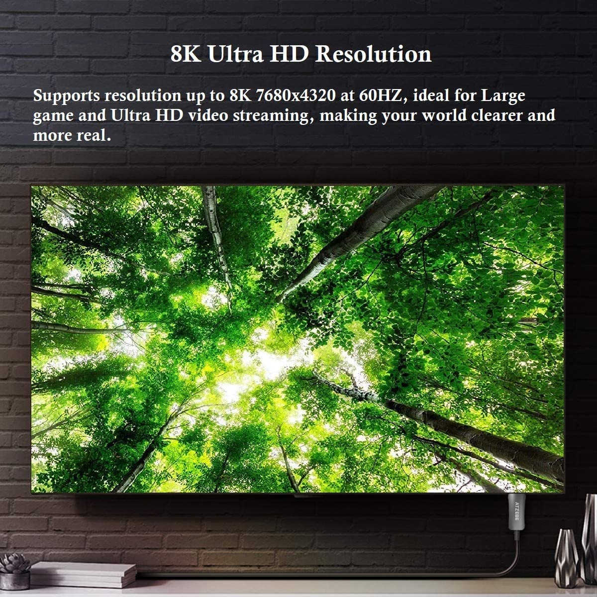 4K@144Hz Laptop 8K@60Hz Monitor/… DisplayPort 1.4 Cable Support 7680x4320 Resolution HDCP2.2 for Gaming PC DSC High Speed 32.4Gbps HDR10 HBR3 ATZEBE DisplayPort to DisplayPort Cable 3ft