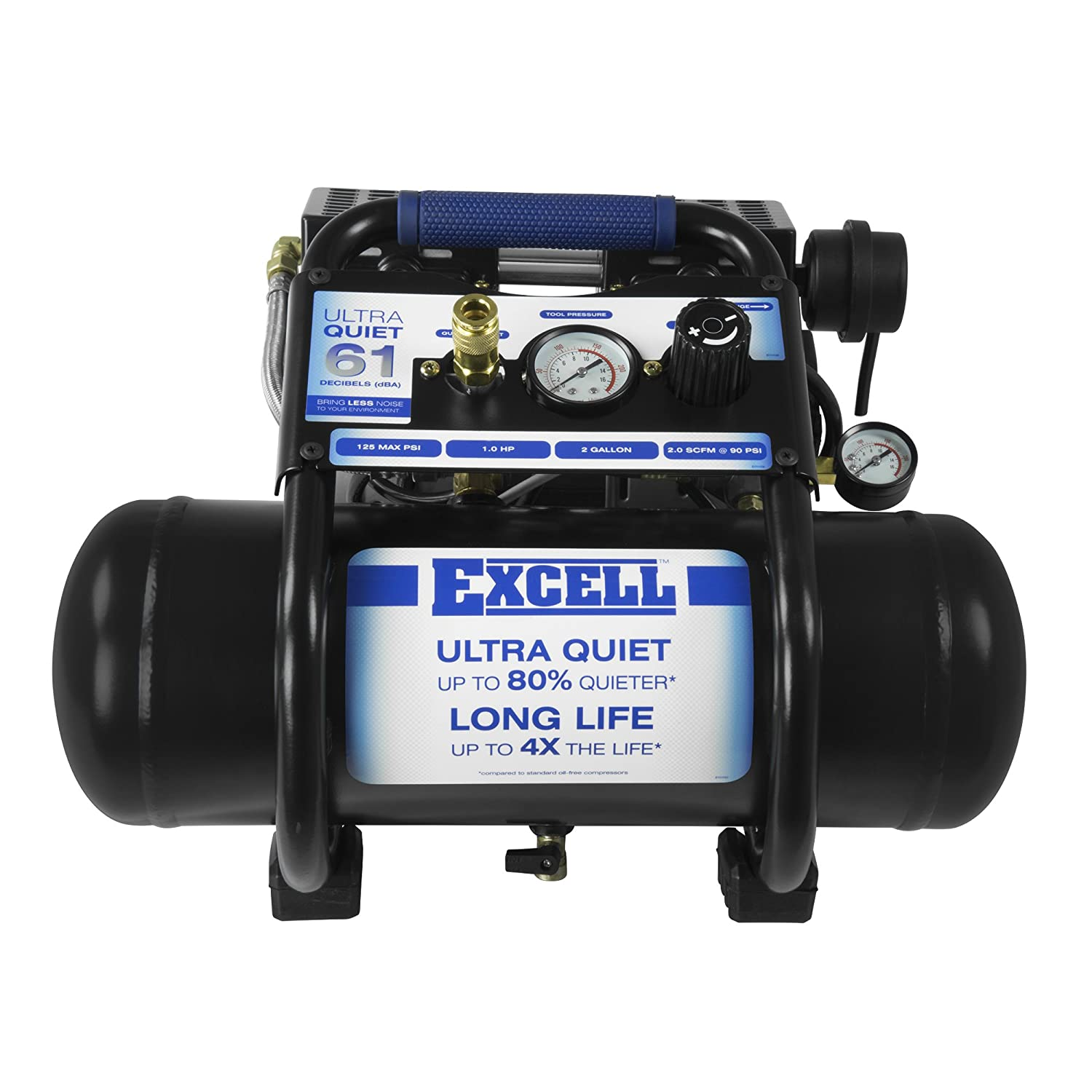 excell Sac22Hpe Excell SAC22HPE 2 Gallon Ultra Quiet Air Compressor EXCELL Air Compressors