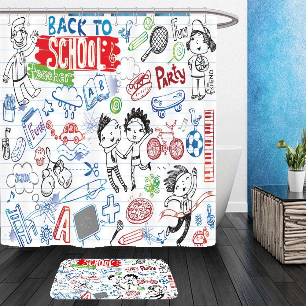 Vanfan Bathroom 2Suits 1 Shower Curtains & 1 Floor Mats school doodles vector set 185541020 From Bath room