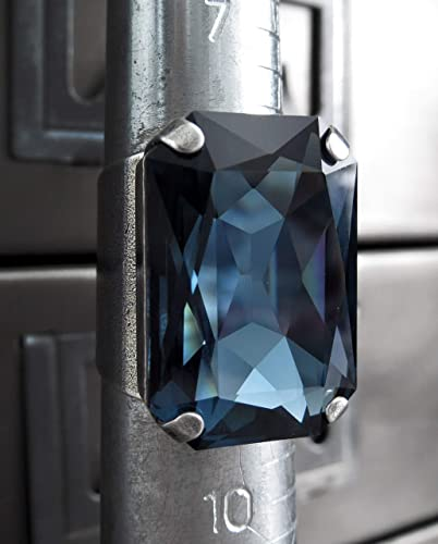 9068d1b26 Image Unavailable. Image not available for. Color: Large Rectangular Ring  with Midnight Blue Swarovski ...