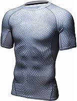 HONENNA 男性用機能性肌着 着圧スポーツインナー 吸汗速乾 コンプレッションウェア 半袖 メンズ 加圧Tシャツ 姿勢矯正 猫背解消