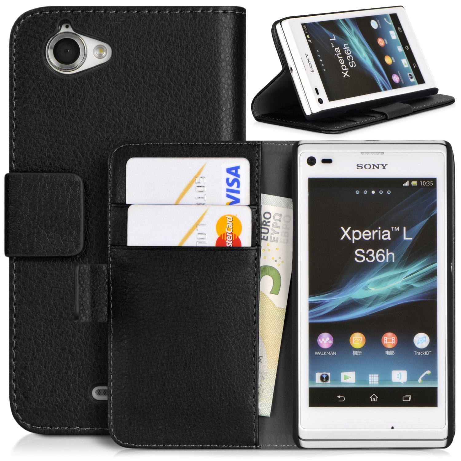 hot sale online 0d712 3c3a3 Topratesell Structure Wallet Flip Case Bag Pouch for Sony Xperia L C2104  C2105 with Credit Card Pockets and Stand-up Feature (Black)
