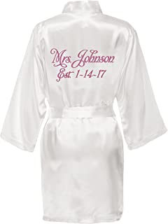 Personalized Mrs. Satin Bridal Robe - White at Amazon Women s ... d87a1522a