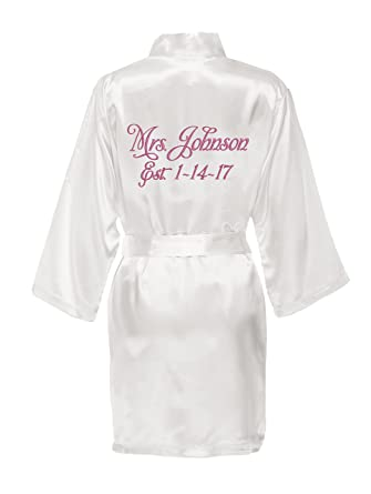 Personalized Mrs. Satin Bride Robe - Bridal White at Amazon Women s ... fed680709