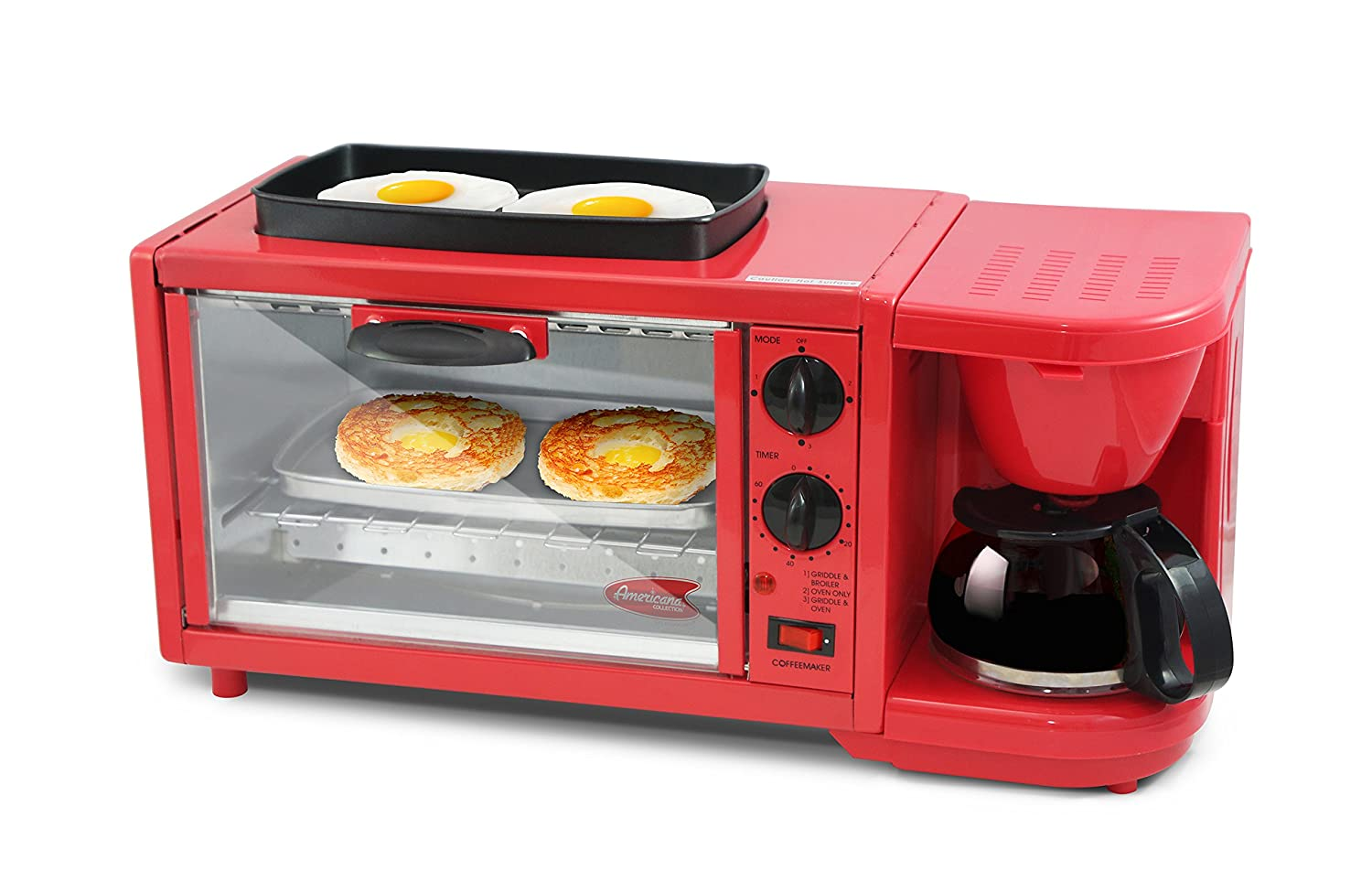 Elite Delux EBK-300R Deluxe Breakfast Station, X-Large, Red