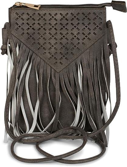 5ac32bb4894c8 styleBREAKER Minibag Umhängetasche mit Cutout Muster und Fransen im coolen  Ethno Style