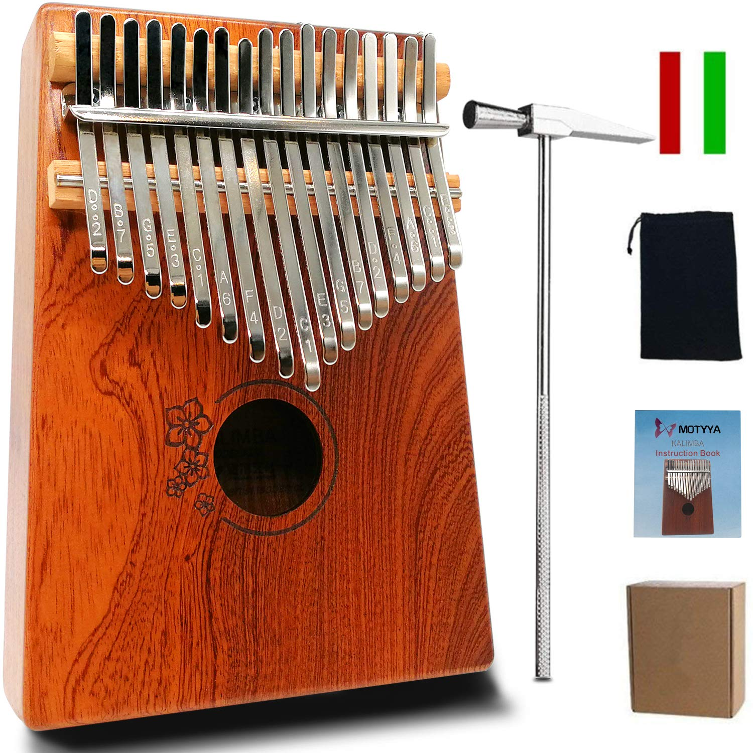MOTYYA Kalimba 17 Key Thumb piano, Mbira 17 Tone Finger Piano Portable Musical instrument Toys Solid Sapele Body with Tune Hammer/Bag Musical Gifts(Sapele Flower Wood Color)