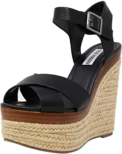 d04b8c83c0 Steve Madden Women's Paso Leather Black Wedged Sandal - 6M: Amazon ...