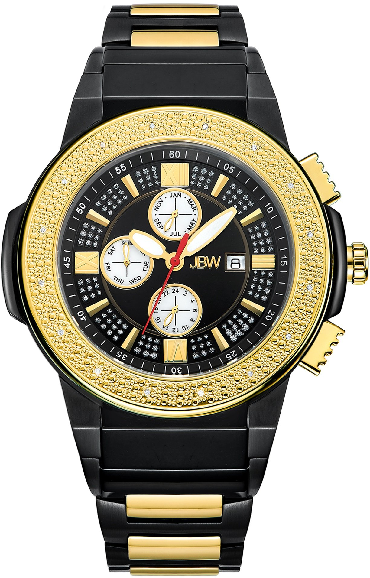 "Jbw Men's Jb-6101-K ""Saxon"" Black Ion-Plated Stainless Steel Diamond Watch 6"