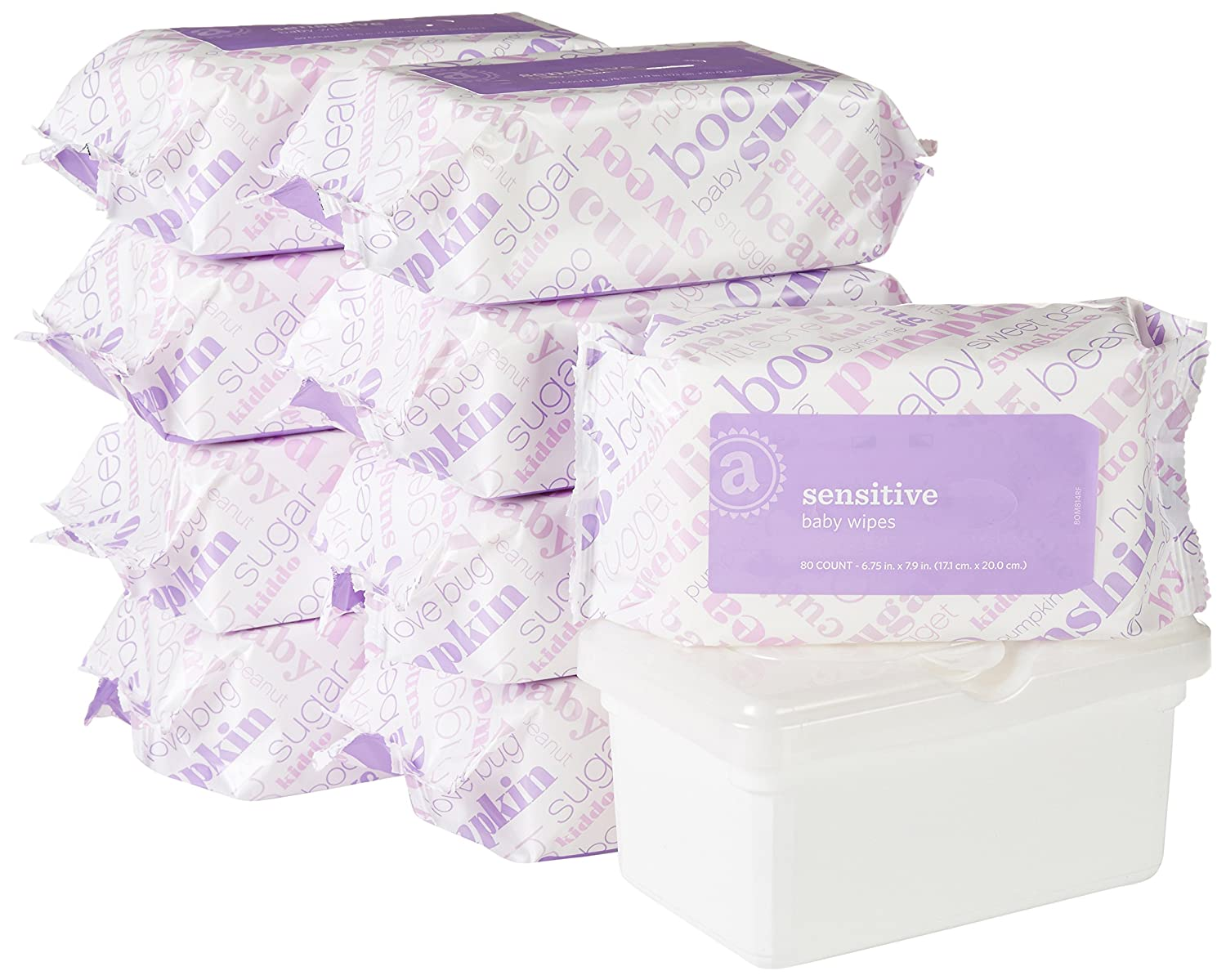 Amazon Elements Baby Wipes Sensitive Flip-Top Packs 720 Count