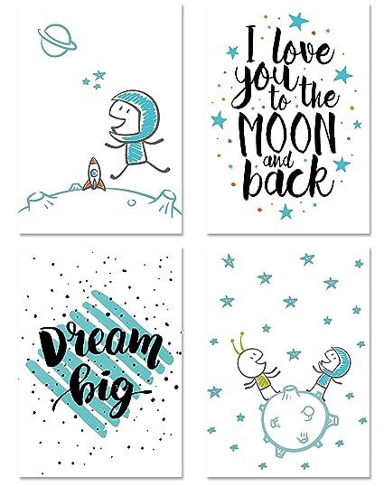 PICSonPAPER Kinder Poster 4er-Set Astronaut, ungerahmt Din A4, Dekoration  fürs Kinderzimmer, Kinderposter, Geschenk, Kunstdruck, Wandbild (Ohne ...