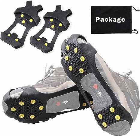 JSHANMEI Crampones antiresbalones para Utilizar en la Nieve y el Hielo, con Pinchos, para Deslizar sobre Tus Botas o Zapatos, Aptos para Pescar, Hacer ...
