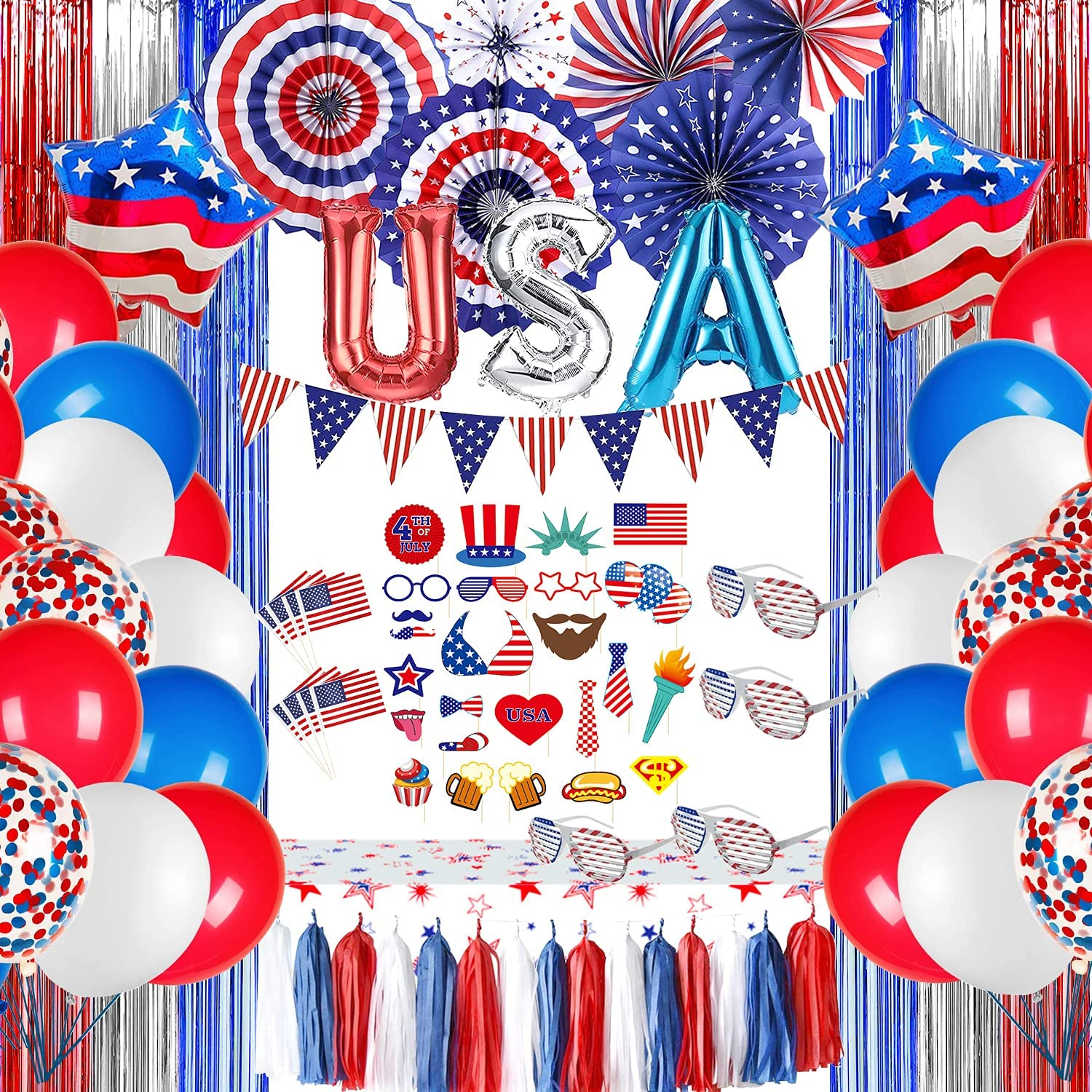 Patriotic Decorations - American Flag Decorations Include Banner, Curtain, Sunglass, Paper Fans, Tassels, Tablecloth, Toppers, Photo Booth Props, Balloons, for Presidents Day, 4th of July Decorations