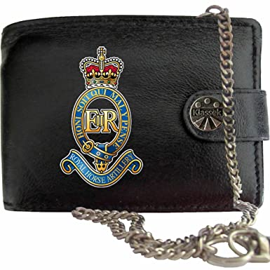 40dbb31731d4 Royal Horse Artillery image on KLASSEK Brand Men Leather Chain Wallet with  Clasp Cap Badge Emblem Military Crest Insignia with Metal Box: Amazon.co.uk:  ...