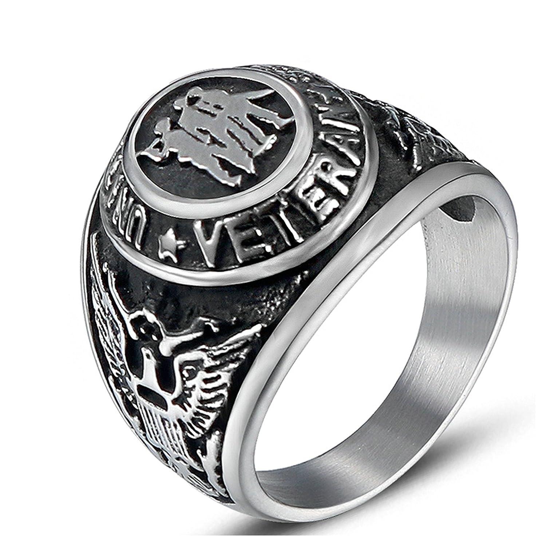 Gnzoe Uomo anello in acciaio inox Aquila anello con sigillo punk nero argento 21MM GNZ112AHR313