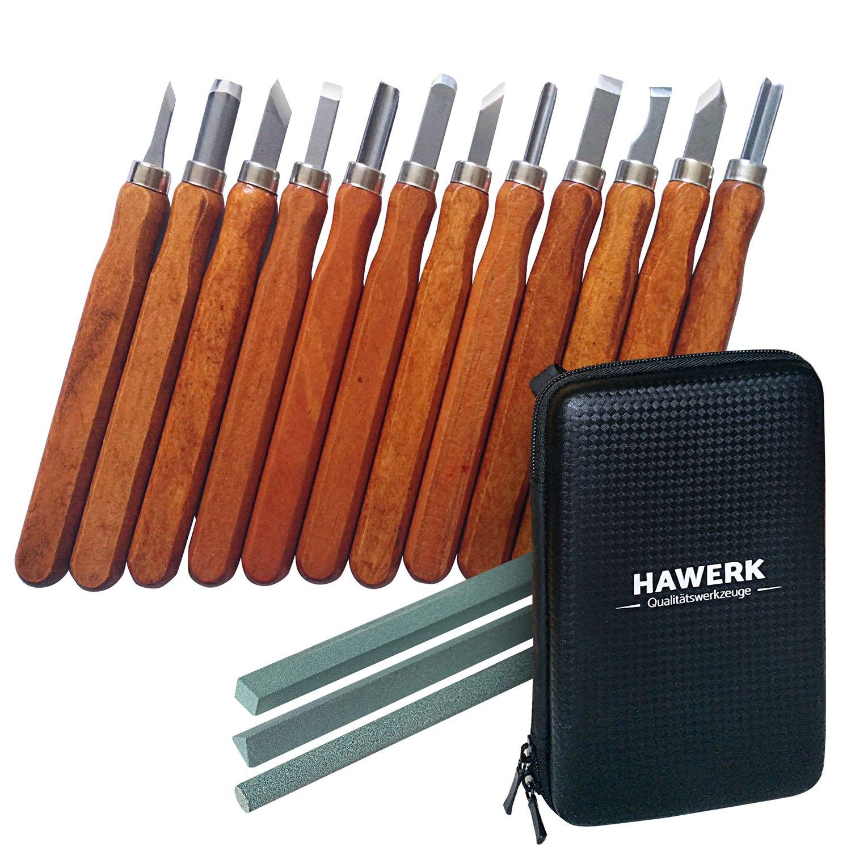 Holz-Schnitzwerkzeug Set fü r Profis und Anfä nger | 12 tlg. + 3 Schleifsteine + Tasche | von Hawerk