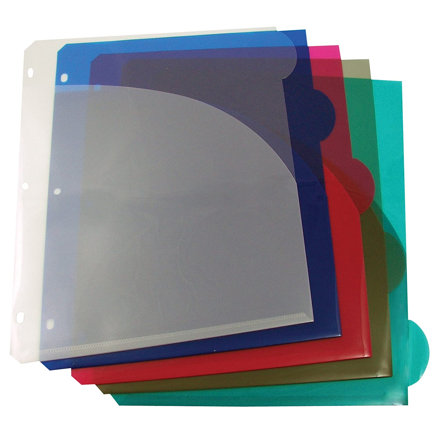 C-Line Specialty Colored Tab Polypropylene Index Dividers with Slant Pockets, Multi-Color, Fits 3-Ring Binders, One 5-Tab Set (05460)