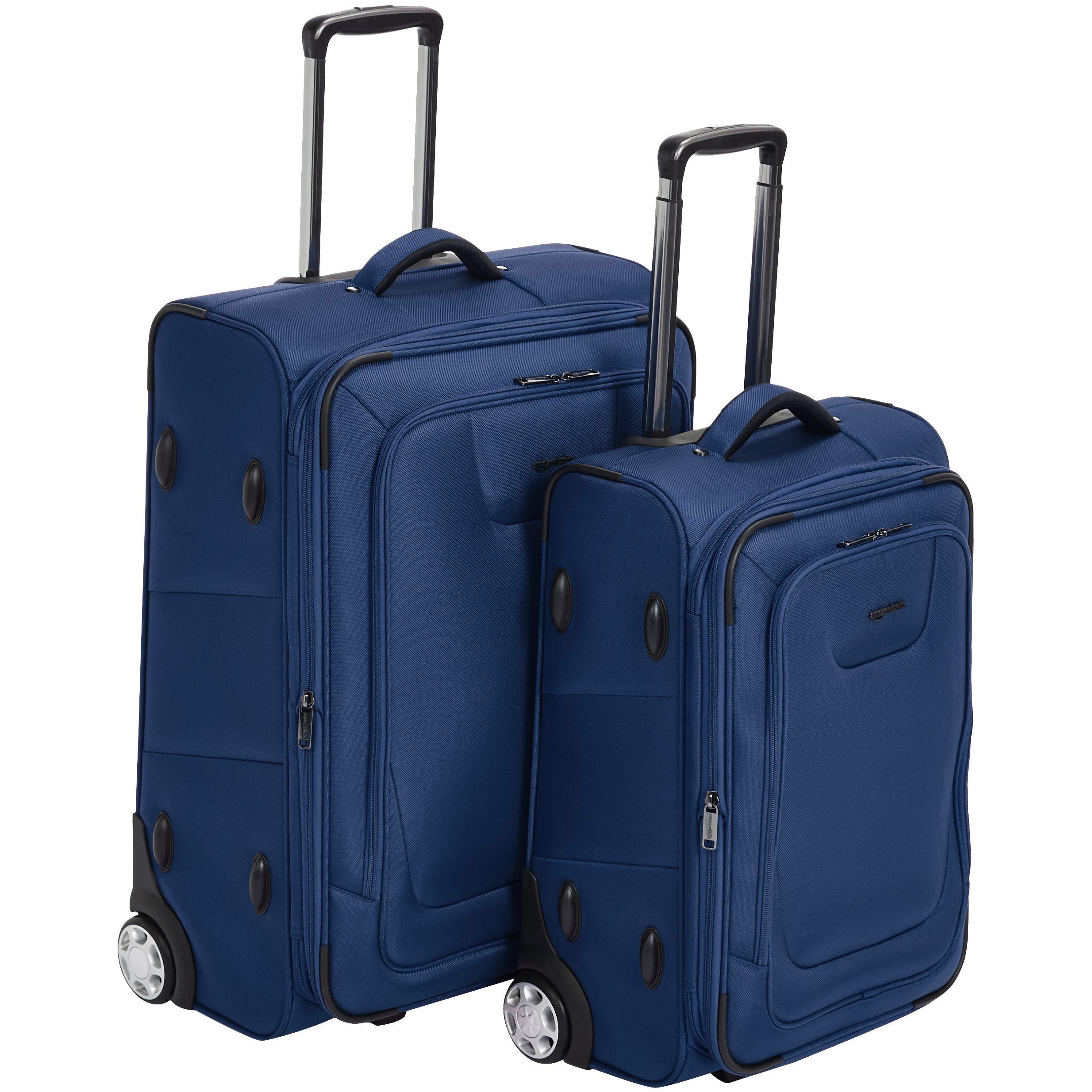 AmazonBasics Premium Upright Expandable Softside Suitcase with TSA Lock 2-Piece Set - 22/26-Inch, Blue