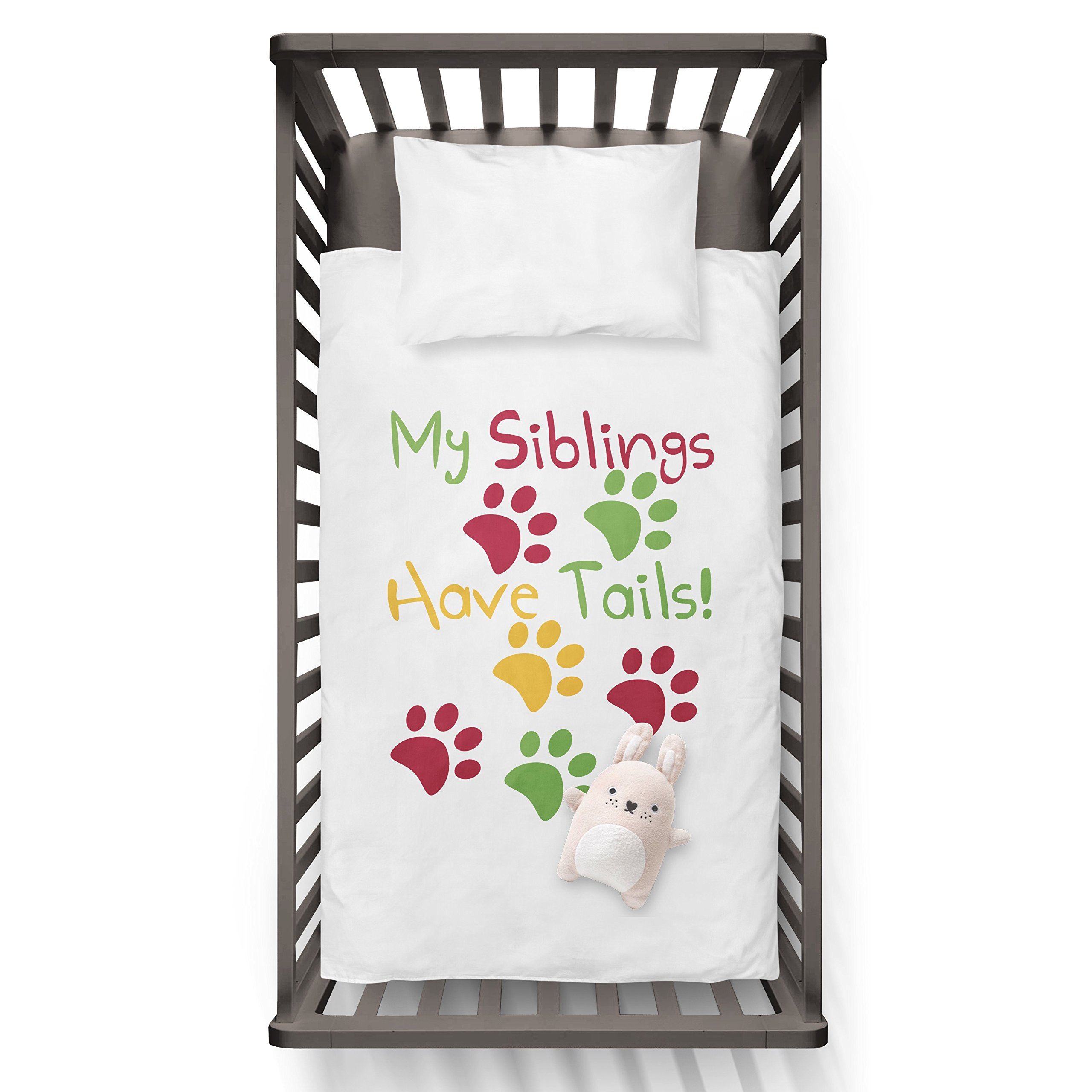 My Siblings Have Tails Funny Humor Hip Baby Duvet /Pillow set,Toddler Duvet,Oeko-Tex,Personalized duvet and pillow,Oraganic,gift