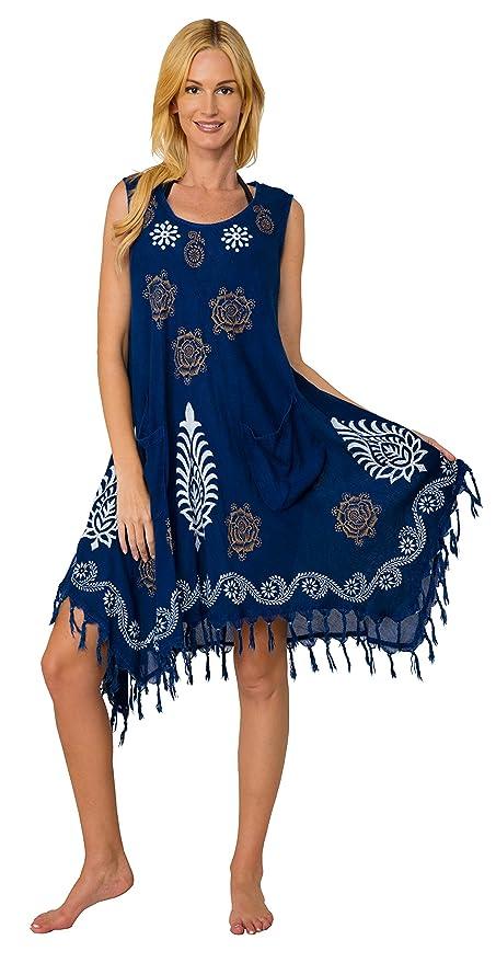 INGEAR Women's Casual Sun Dress Dresses Summer Beach Slip Sundress and Bathing Suit Cover Up (Drawstring Denim)