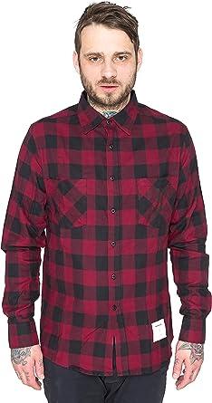 pfizipfei Hombre Borgoña Rockefeller Camisa de cuadros, estilo leñador, borgoña/Negro granate XL: Amazon.es: Ropa y accesorios