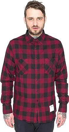 pfizipfei Hombre Borgoña Rockefeller Camisa de cuadros ...